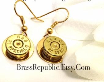 Brass Bullet Dangle Earrings