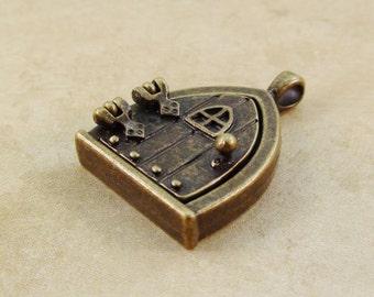 Fairy Door Pendant Antique Brass Bronze Locket Magnetic