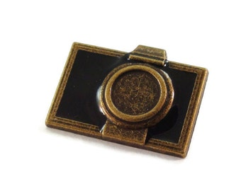 Camera Metal Buttons 1 inch 25mm Antique Brass Bronze Qty 3