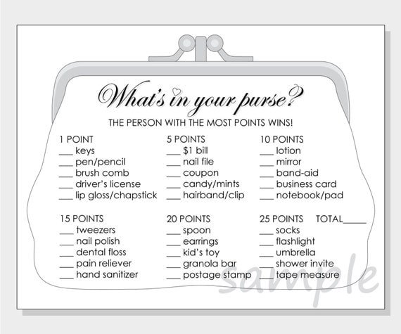 DIY What's in your purse? Printable Bridal Shower Game - white, red ...