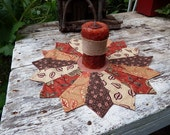 Autumn Reversible Candle Mat, Red Orange, Brown, Cream Fall Table Topper, Round Table Cover, Small Quilted Tablecloth, Earth Tones
