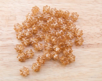 100 Flower Sparkle Gold Pony Beads