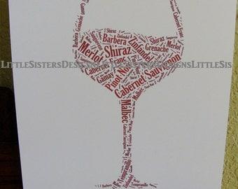 Wine Glass Typography Word Art Print