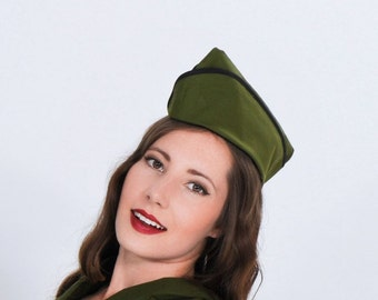 Army Hat - Military Cap - Wedge Cap - Vintage Style Hat - Pin Up Hat - Pinup Cap - Flight Hat - Garrison Cap - Steampunk Hat