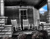 Southern Front Porch  1, Americana, Southern, Old Homes, Rocking Chair, Black and White Photography, Summer