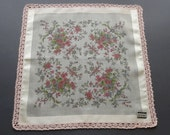 Sale - Vintage Unused Swiss Lehner FLoral Cotton Hankie Handkerchief with Crocheted Edge