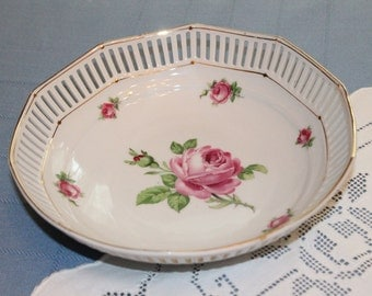 Schumann of Bavaria China Bowl with Pink Roses Reticulated Edge and Gilt Trim