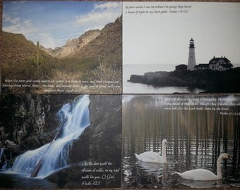 Set of 8 blank notecards with nature photos and scriptures