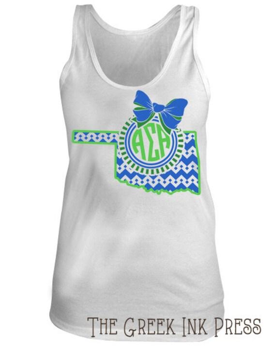 Items similar to oklahoma bow monogram custom sorority t for Custom t shirts okc
