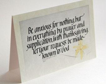 Calligraphy Scripture Greeting Card Blank: Christian Handrawn Art, Phillipians 4v6