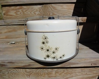 1950's Vintage Metal Cake Carrier, 2 tiered cake and or pie Carrier