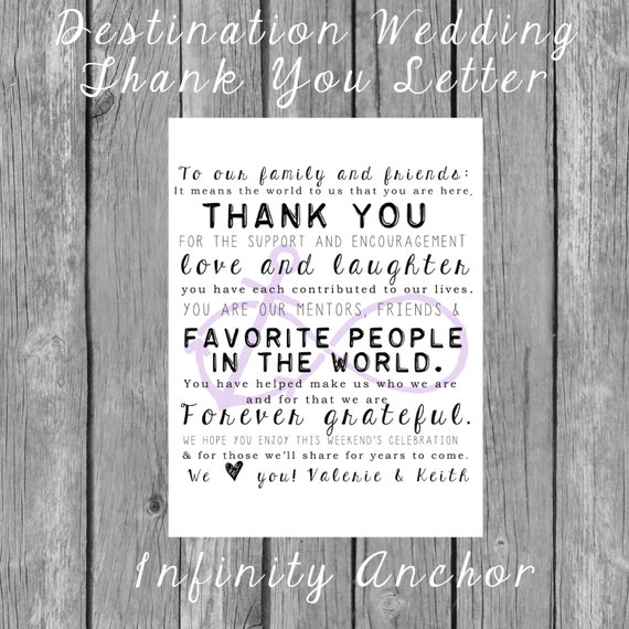 Destination Wedding Welcome Bag LettersInfinity Anchor ANY