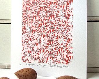 Orange Anemone screen print, small, abstract, modern art