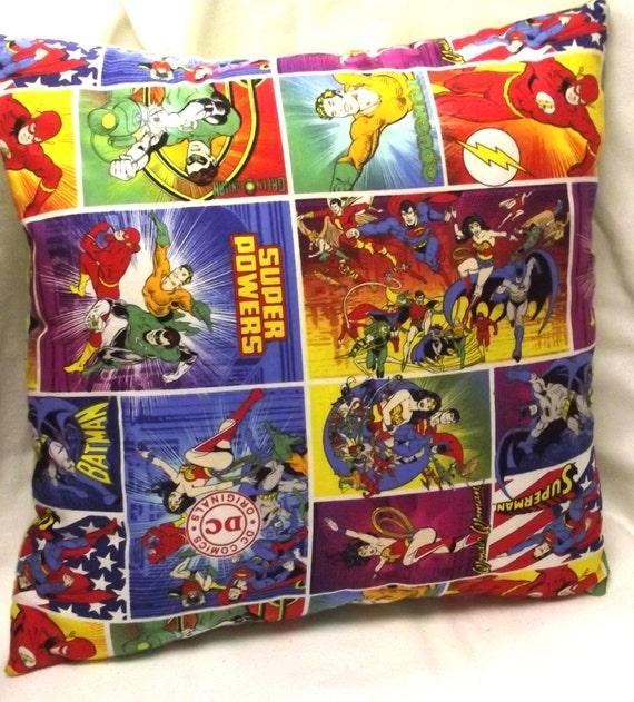 Handmade Pillow Super Heroes Dc Comics Dorm By Sewdarncomfy