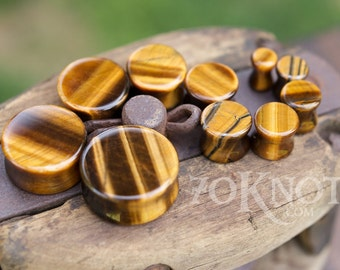 Tiger's Eye Stone Plugs - Double Flared - 1 Pair - 6mm - 8mm - 10mm - 11mm - 12.7mm - 14mm - 16mm - 19mm - 22mm - 25mm - Organic