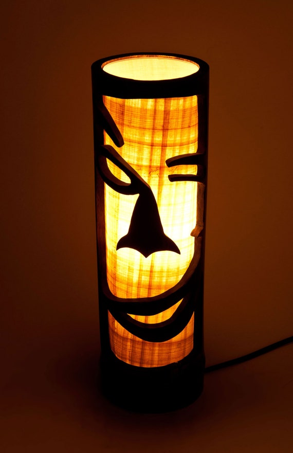 Wooden night lamp african furniture wooden mask bamboo like this item mozeypictures Image collections