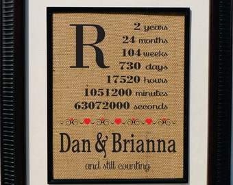 Personalized Burlap 2nd Annniversary- Wife Anniversary - Husband Gift - Anniversery Timeline - Personalized cotton anniversary gift (an105a)