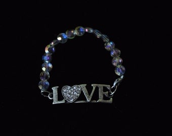 Brushed Silver Metal LOVE with Glass Beaded Bracelet
