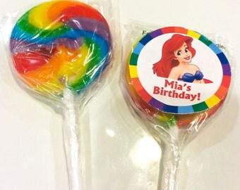 Ariel - The Little Mermaid Personalized Mini Lollipops