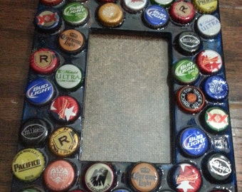 Popular items for bottle cap frame on etsy for Beer bottle picture frame