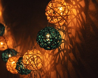 20 Turquoise&White Rattan Ball String Lights for Party Wedding and Decorations