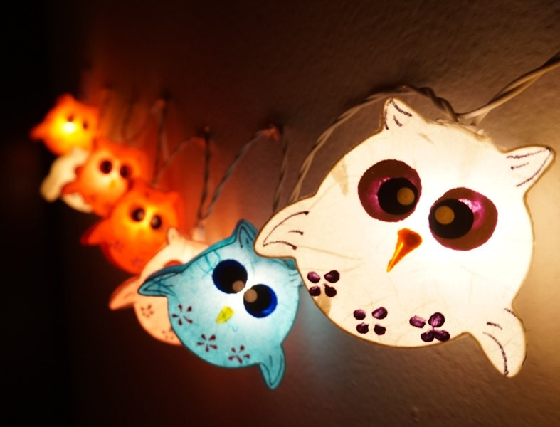 Paper Lantern String Lights Bedroom : 35 Handmade Owls paper lantern string lights kid bedroom light
