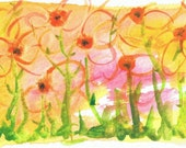"Abstract Painting. Watercolor miniature. Original abstract art. Small 3""x 5"". Contemporary. Brightt yellow and orange.""Flowers at Daybreak"" - TayloreArt"