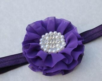 purple headband flower girl headband dark purple headband toddler headband halloween headband Infant headband purple wedding headband