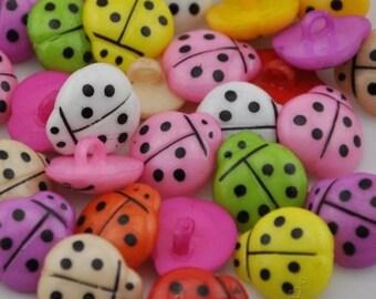 100PC Mix ladybug Plastic Button backholes craft Free shipping PT01