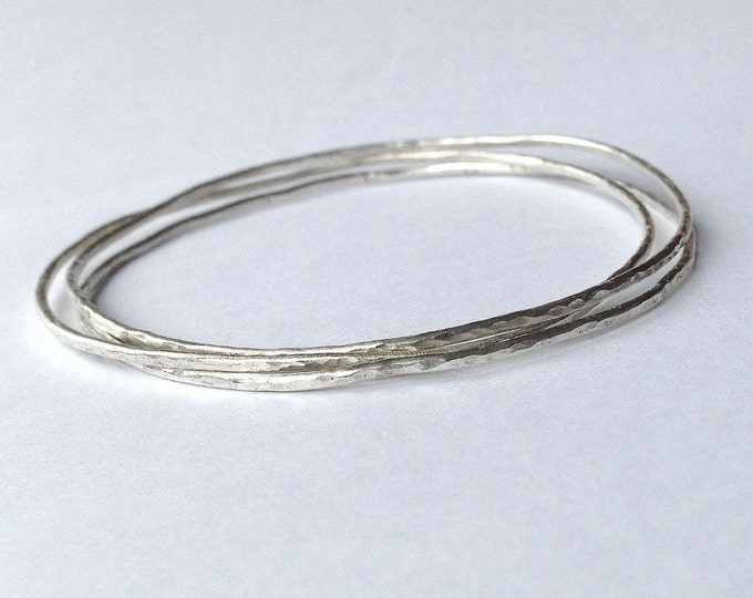 Three Hammered Silver Stacking Bangles - Delicate - Plain - Thin - Dainty - Sterling - Recycled -Organic - Three Bangle Set