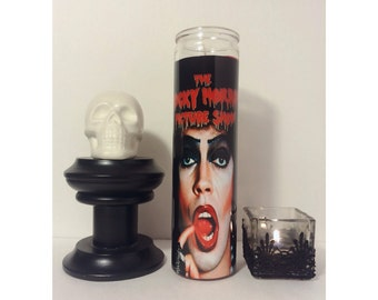 The Rocky Horror Picture Show Prayer Candle in Red.