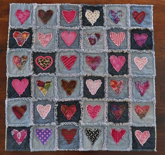 Denim Rag Heart Quilt 33x33 Recycled Soft Worn