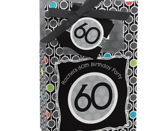 60th Birthday Party Favor Boxes - Custom Party Favor Bags - Set of 12