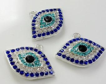 3 pcs  rhinestone evil eye pendants  premium  crystal  gift for her