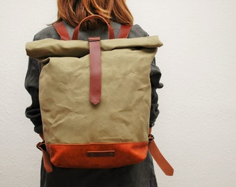 waxed Canvas rucksack/backpack,  mint color, hand waxed , with handles, leather baseand closures
