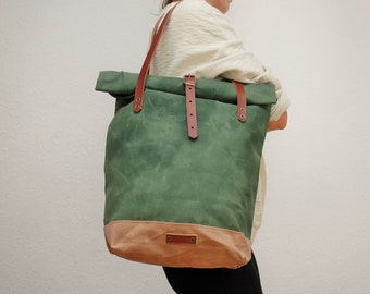 roll top Tote bag waxed canvas, green army/sand color ,with leather handles and closures,hand wax
