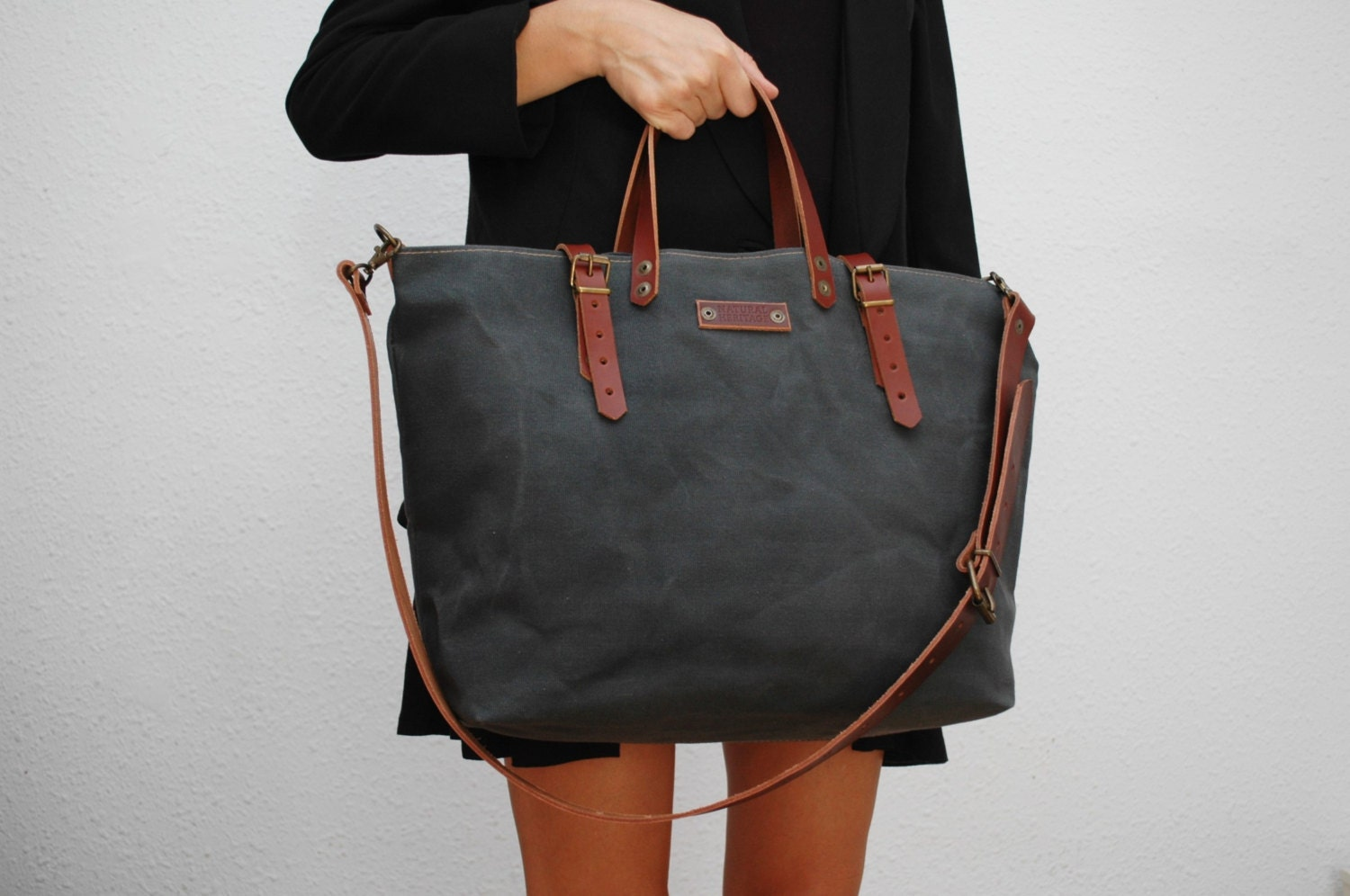 waxed canvas bag /tote bag/with leather handles and