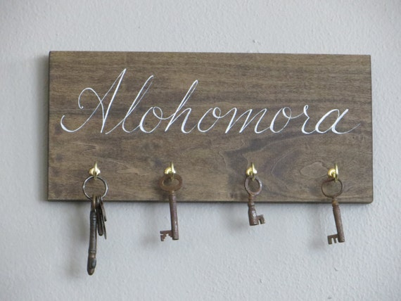 HARRY POTTER hand painted alohomora spell key rack holder sign house warming gift