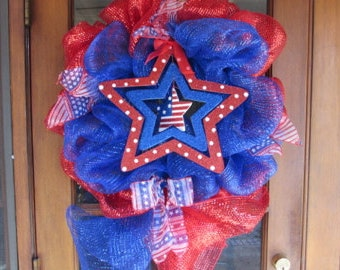 "24"" Patriotic Deco Mesh Wreath- Fourth Of July Deco Mesh Wreath- 4th Of July Deco Mesh Wreath- Star Deco Mesh Wreath- Flag Deco Mesh Wreath"