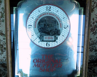 Automotive Shadow Box Mirrored Shop Clock