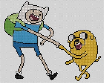 Counted Cross Stitch Pattern, Adventure Time Finn and Jake, Instant Download, PDF Pattern
