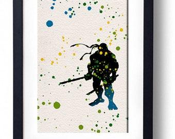 Teenage Mutant Ninja Turtles Leonardo watercolor illustrations art children's room wall art home decor nursery art