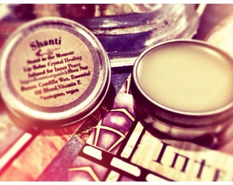 Organic Vegan Lip Balm / Shanti Stand in the Moment / .25oz tin / Crystal Healing / Inner Peace, Love, Acceptance / Hydrating & Exfoliating