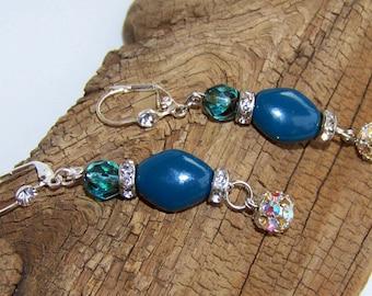 Blue Dangle earrings Blue glass beads  with Rhinestone spacers and Rhinestone beads