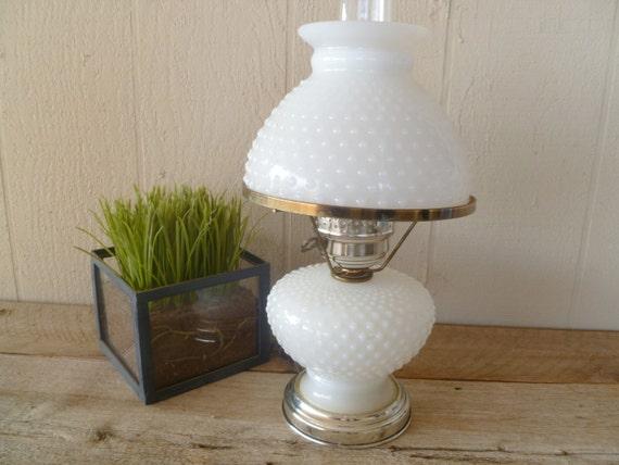vintage hobnail milk glass lamp by 3oakstreasure on etsy