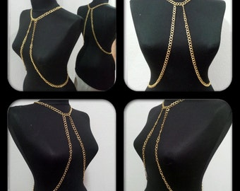 body chain, gold body chain , necklace, body necklace,