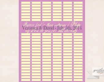 Guestbook - 144 Guests - 16x20 print - Guest Book Vows - Guest book print - Custom Quote - Vows - Pledge