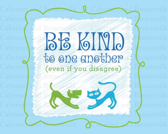 "Be Kind to One Another (blue/green, 8x10"") - Instant Download - Instant Download"