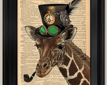 "Steampunk Giraffe. Upcycled vintage book page art print. Animal Print on book page. Fits 8""x10"" frame."