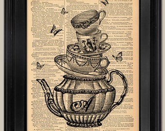 Alice's Teapot and Cups. Gift for Mom. Upcycled vintage book page art print.  Print on book page.  Mother's Day Gift.